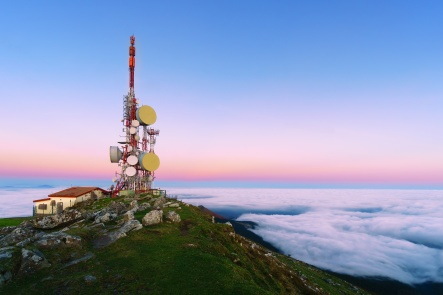 telecommunications tower on Oiz mountain top at the sunrise