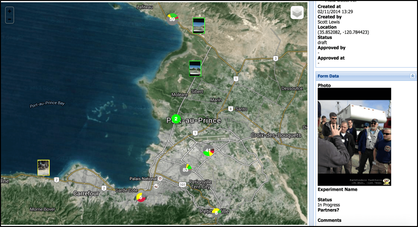 Sample map-view of the Virtual Badge Control Center in-use in Port au Prince, Haiti